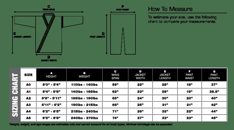 bjj gi size chart